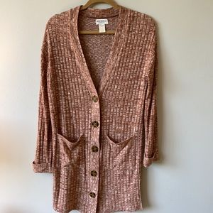 Ribbed Button Front Long Cardigan, size S